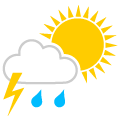 Sunny intervals with thunder shower